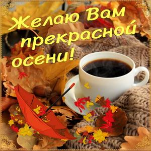 Картинка с чашкой кофе среди осенних листьев