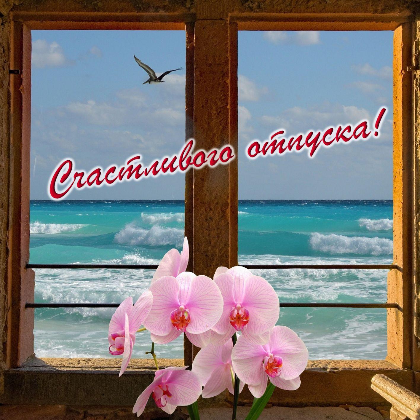 Открытка к отпуску - окошко с цветами с видом на море