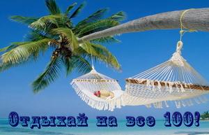 Открытка с гамаком на пальме