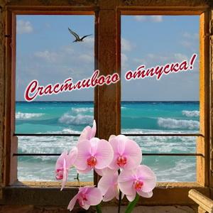 Окошко с цветами с видом на море