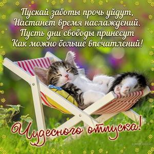 Милая открытка к отпуску со спящим котиком в шезлонге