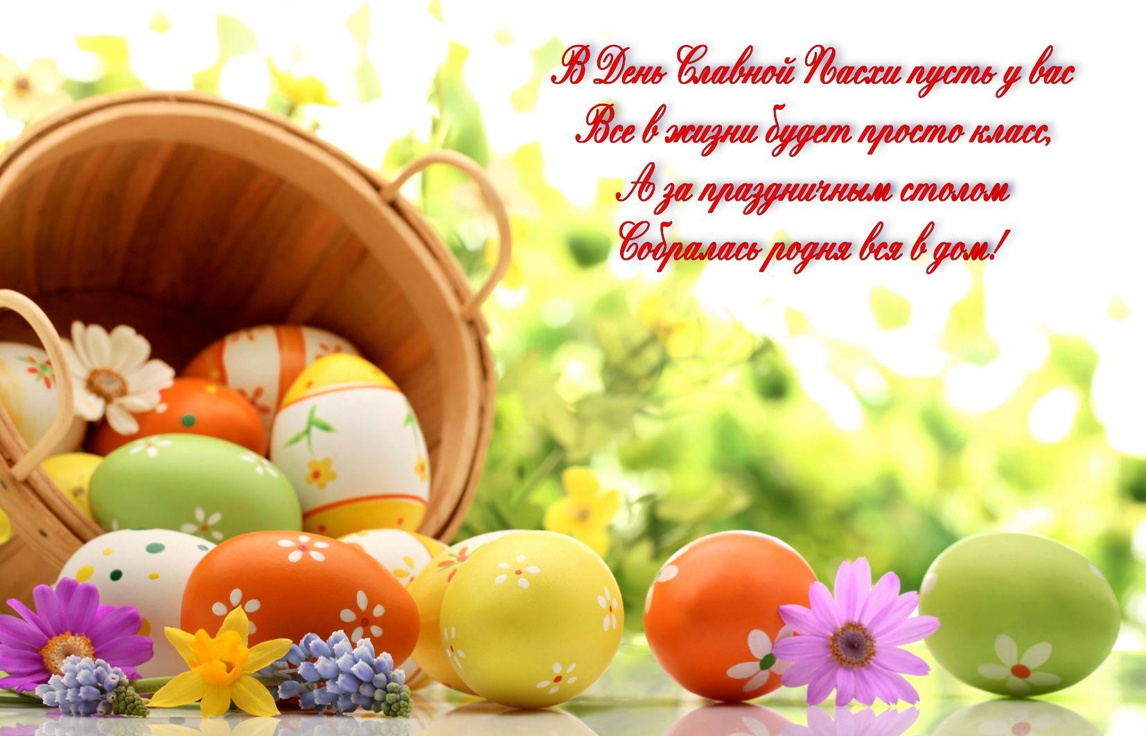 В день Светлой Пасхи, корзина с яичками