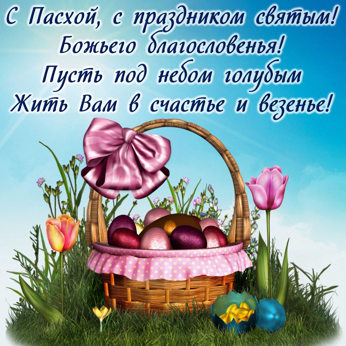 Корзинка с яйцами и пожелание на Пасху