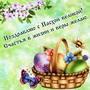 Поздравление и корзинка с яйцами