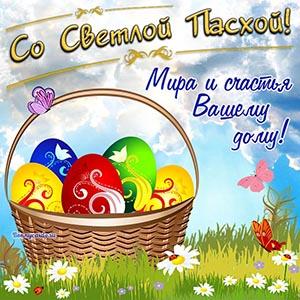 Яркая картинка на Пасху с яйцами в корзинке