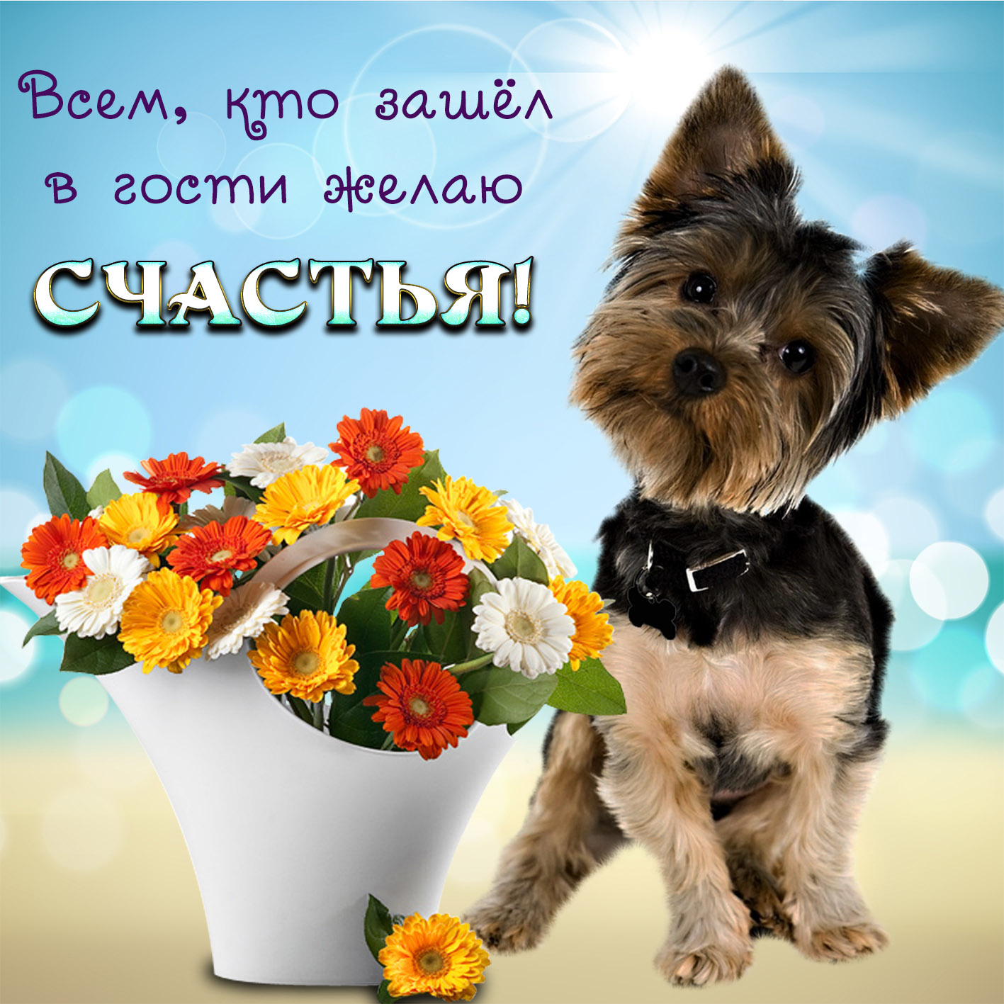 Картинка с собачкой и красивым букетиком и пожелание счастья