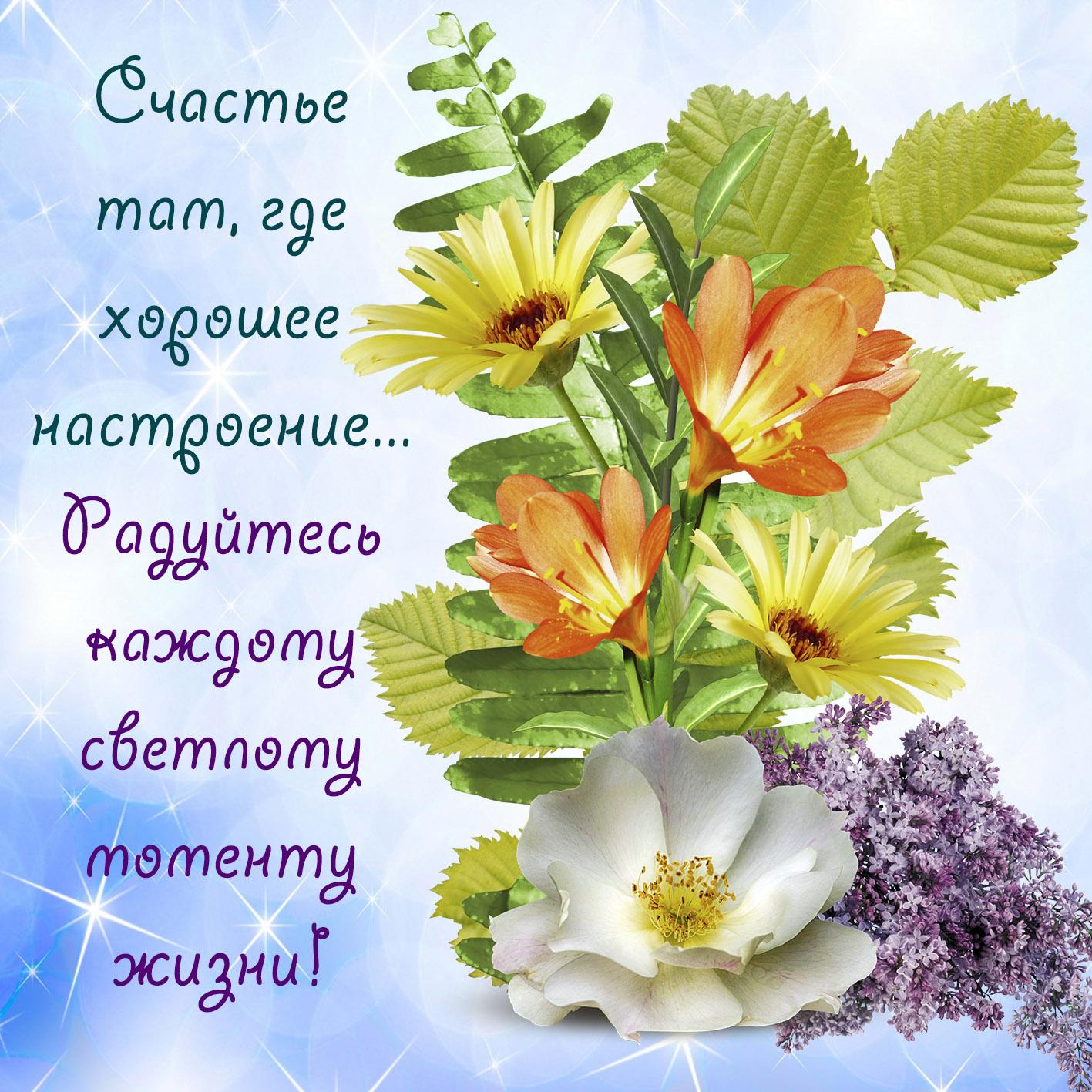 Открытка с цветочками для счастья