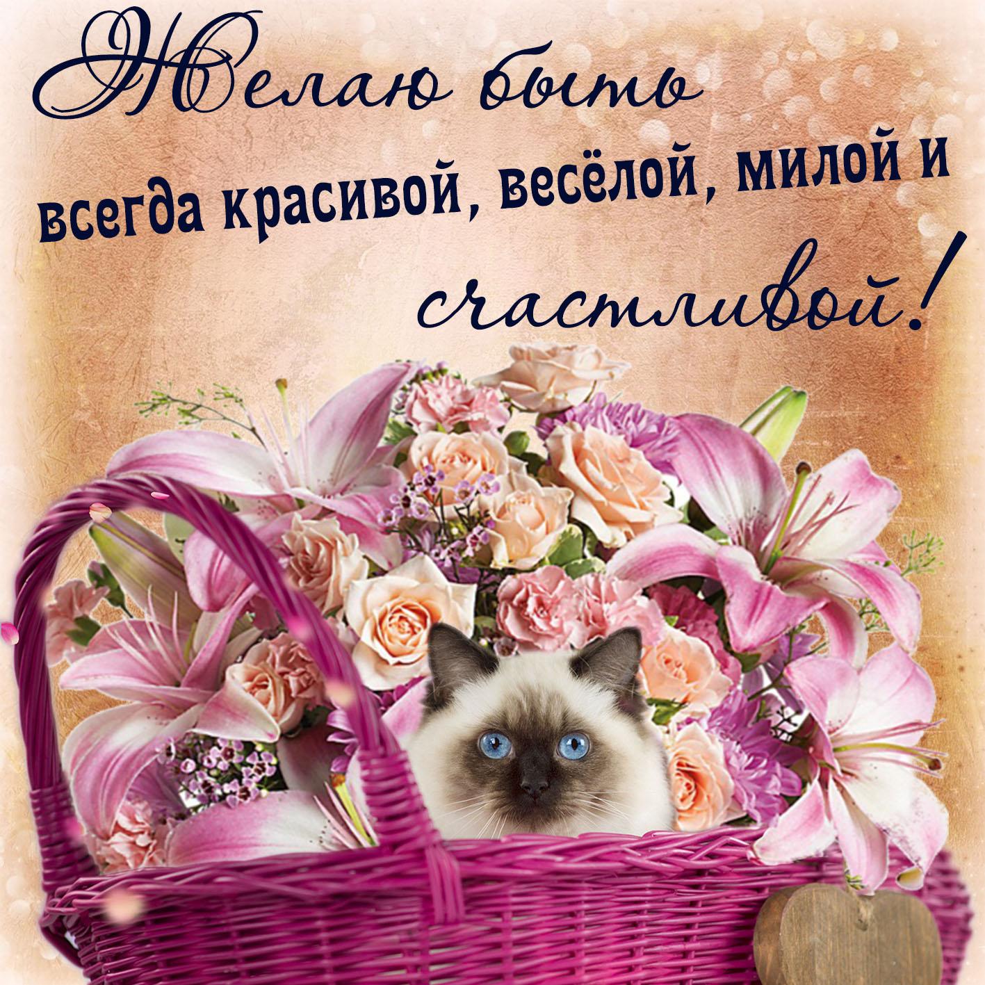 Открытка с пожеланием счастья - симпатичный котик в корзинке с цветами