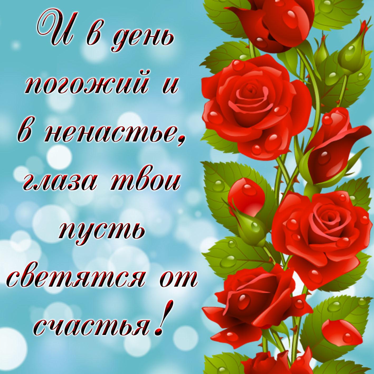 Открытка с красными розами на счастье