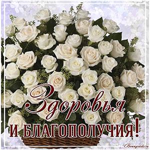 Пожелание здоровья и благополучия на открытке с букетом роз