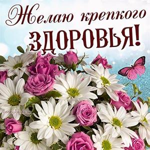 Картинка крепкого здоровья с цветами и бабочкой