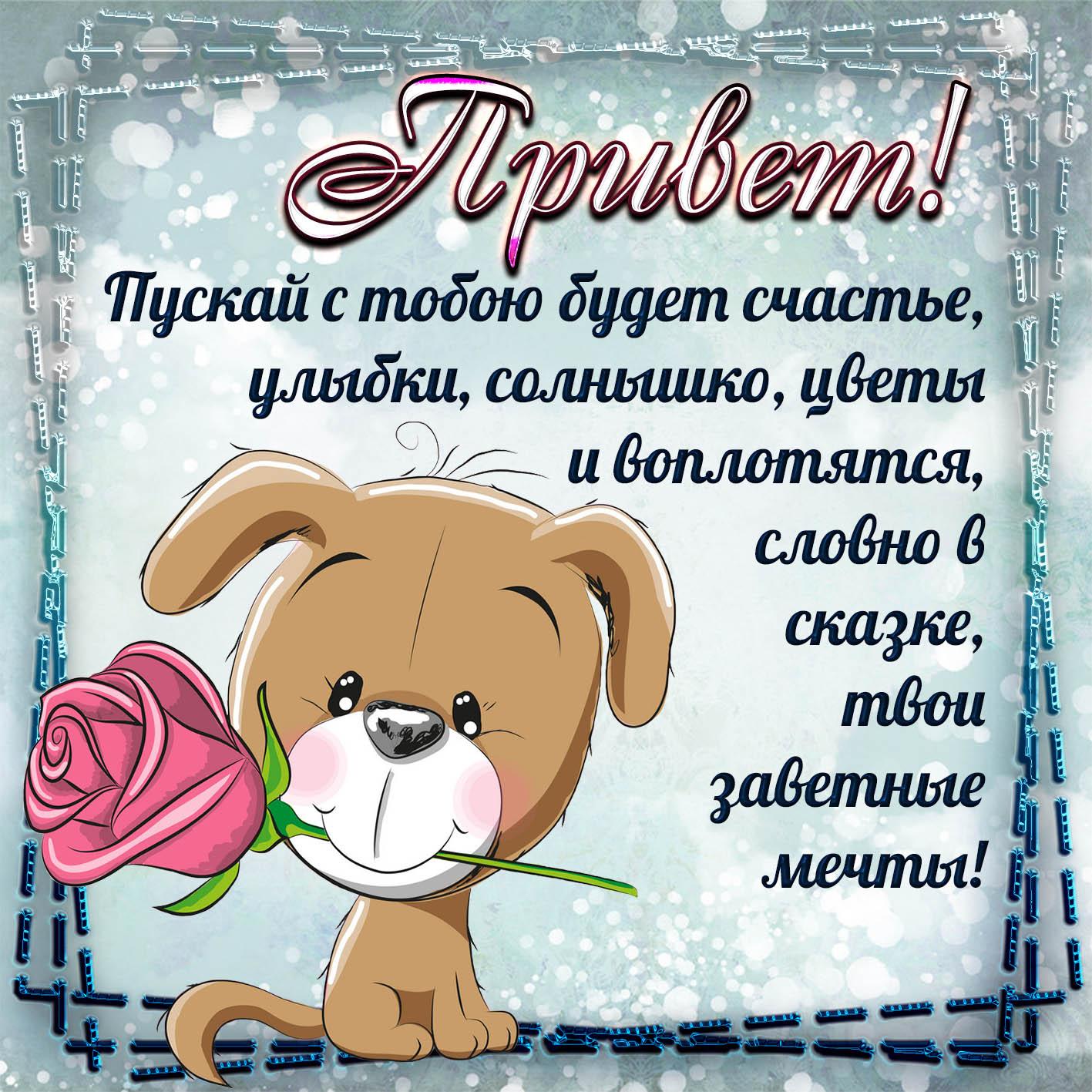 Открытка - прикольная собачка с розой шлёт тебе привет