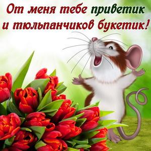 Открытка с мышонком и тюльпанами