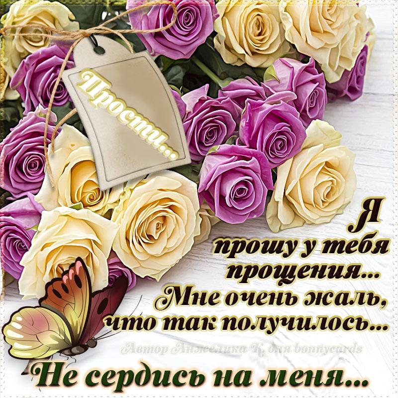 Открытка с розами и просьбой не сердиться