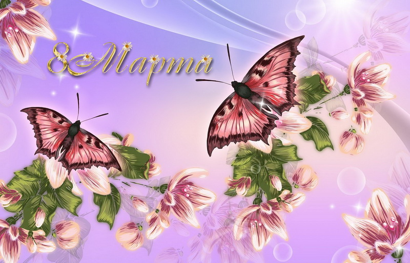 С 8 марта, бабочки на цветах