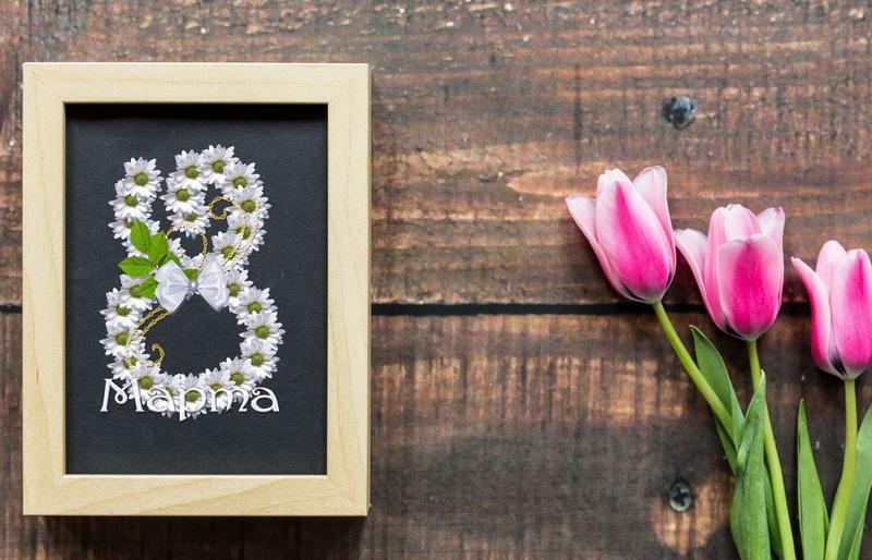 С 8 марта, тюльпаны, рамка