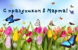 Бабочки над цветочным полем на 8 марта