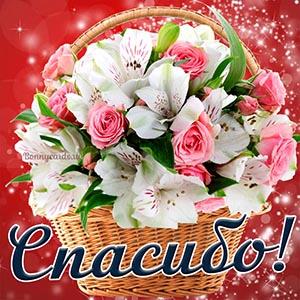Яркая картинка спасибо с цветами в корзине