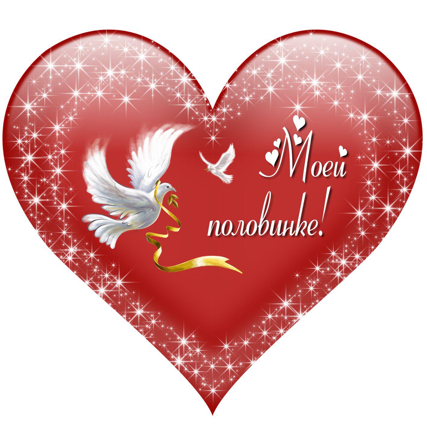 Валентинка - голубь несет послание своей половинке