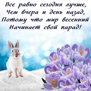 Зайчик на снегу и весенние цветы