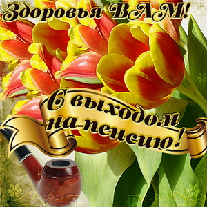 Открытка с яркими тюльпанами к выходу на пенсию