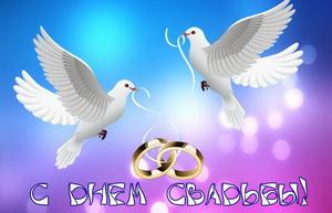 С днем свадьбы, кольца, голуби