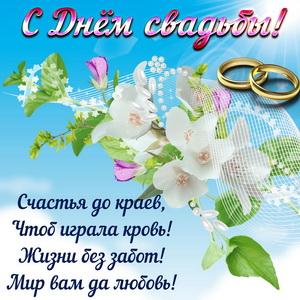 Картинка с пожеланием на фоне цветов