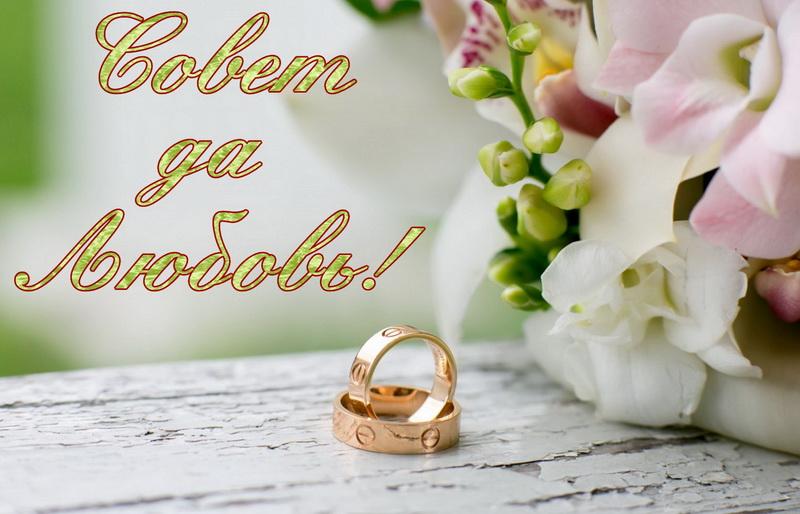 Открытка, совет да любовь, кольца