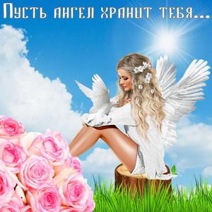 Красивый ангел с голубем на пеньке