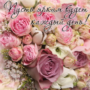 Пожелание на фоне красивых роз