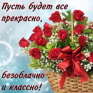 Букет красных роз и красивое пожелание