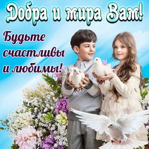 Открытка с детьми и пожеланием добра и мира