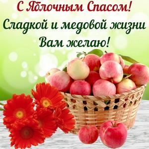 Открытка с цветами и яблочками