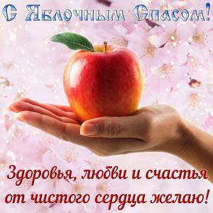 Сочное яблоко на ладони