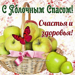 Корзина яблок и бабочка на Яблочный Спас