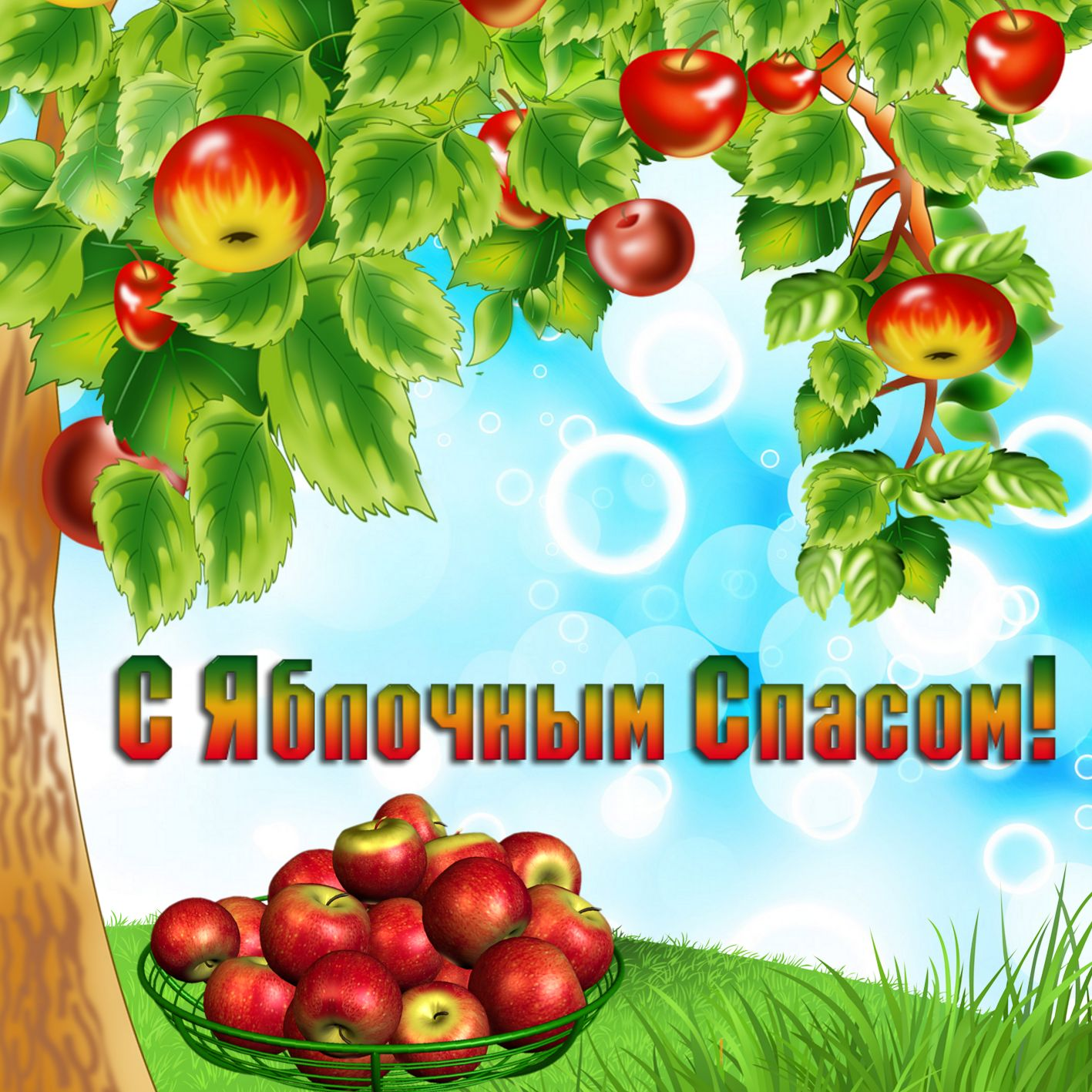 Открытка на Яблочный Спас - яблоня со спелыми яблоками