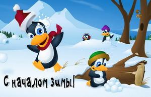 Пингвинята поздравляют с началом зимы