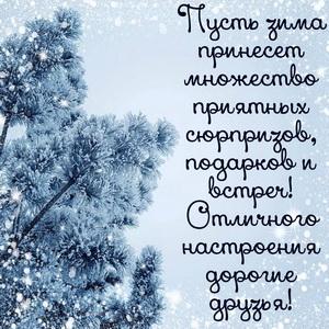 Открытка с приятным пожеланием на зиму