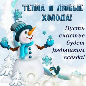 Снеговик желает тепла в любые холода
