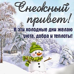 Открытка со снежным приветом, домиком и снеговиком