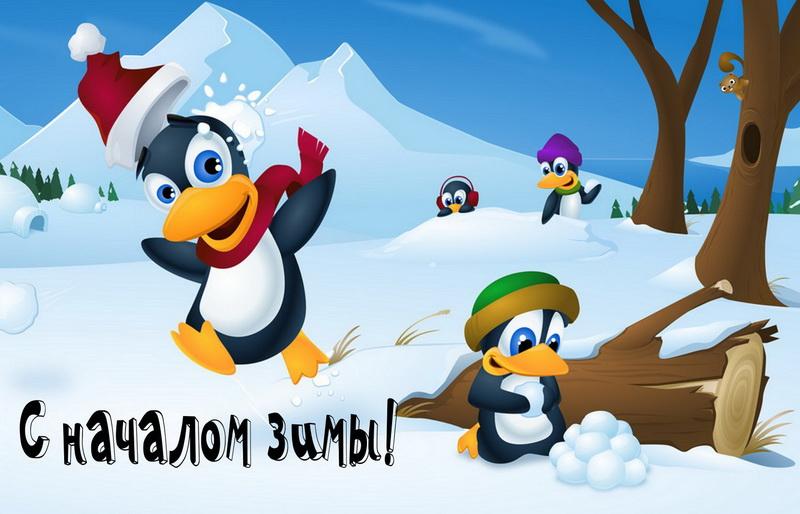 Открытка - пингвинята поздравляют с началом зимы